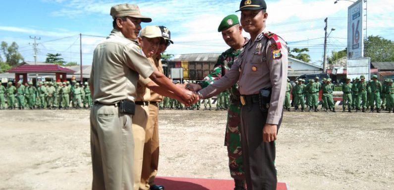 800 Anggota Linmas Tiga Kecamatan Ikut Apel Gelar Pasukan