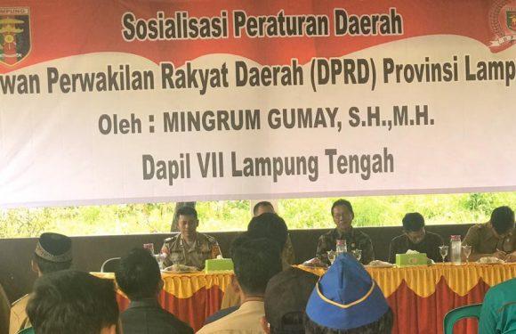 Mingrum Gumay, SH,MH Sosialisasikan Perda Nomor 1 Tahun 2019 Tentang Narkoba