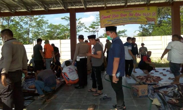 Polres Lamteng Kurban Enam Sapi dan Sembilan Kambing