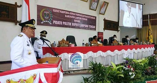 Bupati Lamteng Musa Ahmad Sampaikan Pidato Politik Perdana di Gedung Dewan usai Dilantik