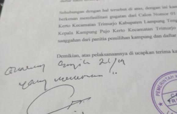 Polemik Pilkakam Pujokerto, Gugatan Dikirim ke Tingkat Kabupaten