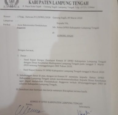 Lamteng KLB DBD, Komisi IV Layangkan Surat Rekomendasi ke Dinkes